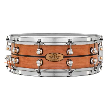 Pearl Music City Custom Solid Cherry 14x5 Snare Drum - Natural With Ebony Inlay