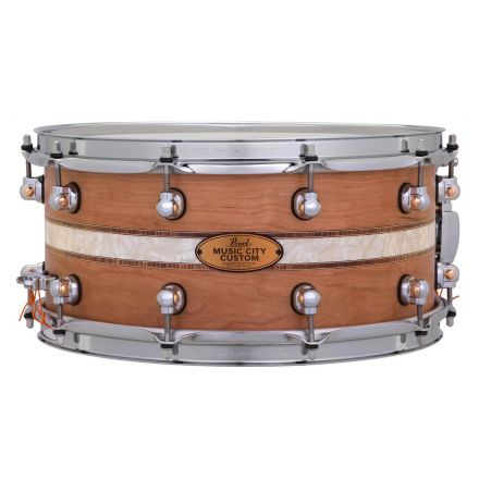 Pearl Music City Custom Solid Cherry 14x6.5 Snare Drum - Natural With Kingwood Royal Inlay