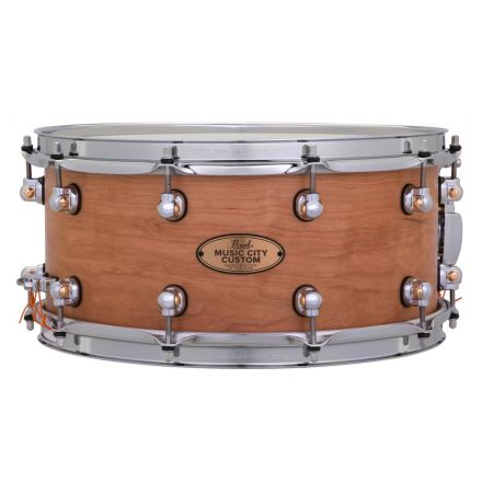 Pearl Music City Custom Solid Cherry 14x6.5 Snare Drum - Hand-Rubbed Natural