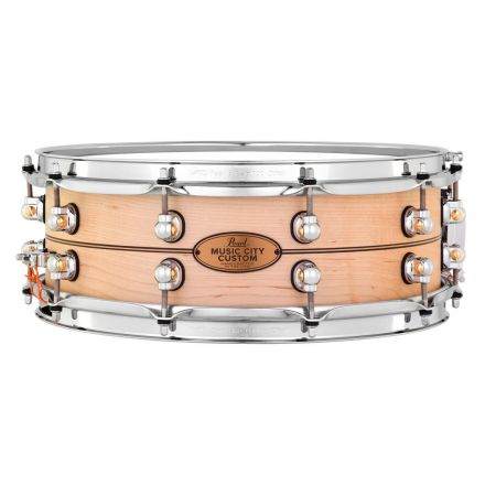 Pearl Music City Custom Solid Maple 14x5 Snare Drum - Natural With Boxwood-Rose Inlay