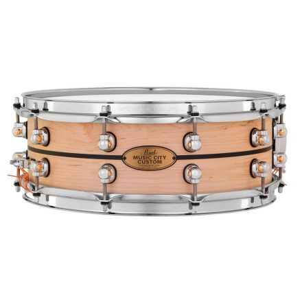 Pearl Music City Custom Solid Maple 14x5 Snare Drum - Natural With Ebony Inlay