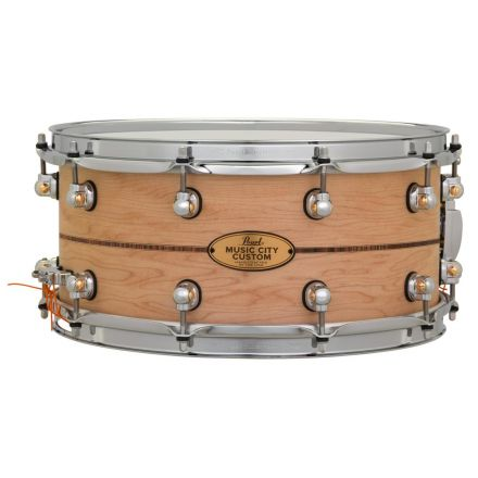 Pearl Music City Custom Solid Maple 14x6.5 Snare Drum - Natural With Boxwood-Rose Triband Inlay