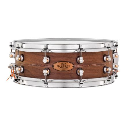 Pearl Music City Custom Solid Walnut 14x5 Snare Drum - Natural With Kingwood Inlay