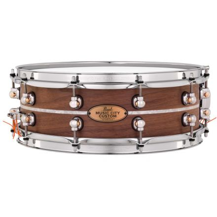 Pearl Music City Custom Solid Walnut 14x5 Snare Drum - Natural With Marine Pearl Inlay
