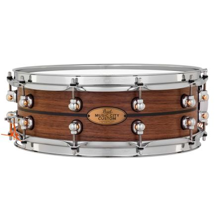 Pearl Music City Custom Solid Walnut 14x5 Snare Drum - Natural With Ebony Inlay