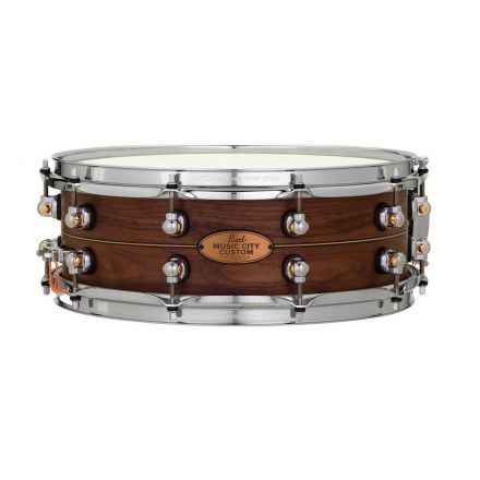 Pearl Music City Custom Solid Walnut 14x5 Snare Drum - Natural With Boxwood-Rose Inlay