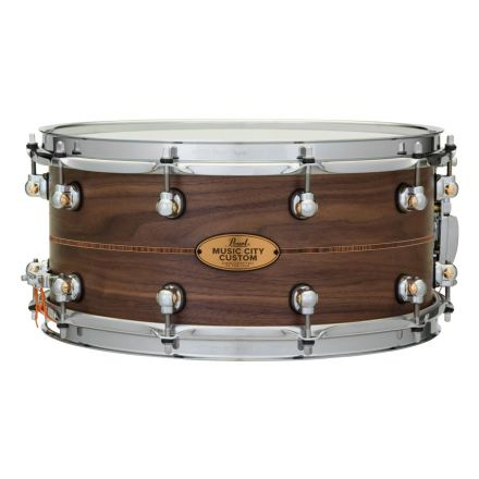 Pearl Music City Custom Solid Walnut 14x6.5 Snare Drum - Natural With Kingwood Inlay