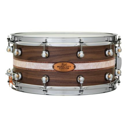 Pearl Music City Custom Solid Walnut 14x6.5 Snare Drum - Natural With Kingwood Royal Inlay