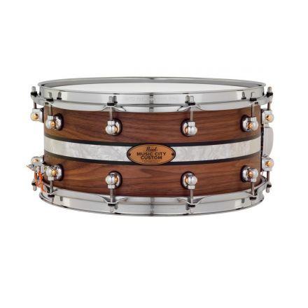 Pearl Music City Custom Solid Walnut 14x6.5 Snare Drum - Natural With Duoband Ebony Marine Inlay