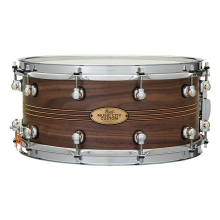 Pearl Music City Custom Solid Walnut 14x6.5 Snare Drum - Natural With Boxwood-Rose Triband Inlay