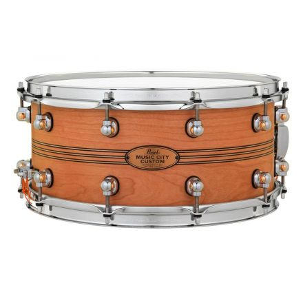Pearl Music City Custom Solid Cherry 14x6.5 Snare Drum - Natural With Boxwood-Rose Triband Inlay