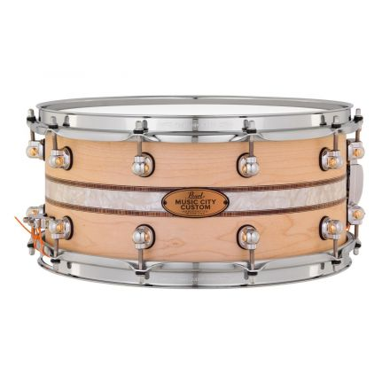 Pearl Music City Custom Solid Maple 14x6.5 Snare Drum - Natural With Kingwood Royal Inlay