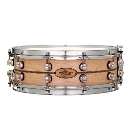Pearl Music City Custom Solid Maple 14x6.5 Snare Drum - Natural With Kingwood Inlay