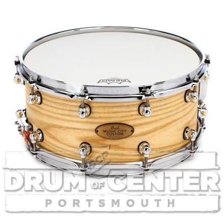 Pearl Music City Custom Solid Ash 14x6.5 Snare Drum - Hand-Rubbed Natural