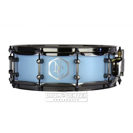 Noble And Cooley Alloy Classic Painted Snare Drum with Black Hw and Reveal Style Logo Flat Baby Blue - 14x4.75