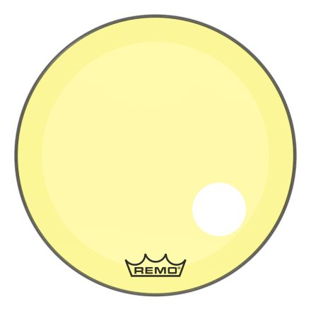 """Remo Powerstroke P3 Colortone Yellow 26 Inch Bass Drum Head w/5"""" Offset Hole"""