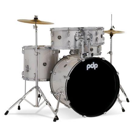 PDP Centerstage 5pc Rock Drum Set w/Cymbals - Diamond White Sparkle