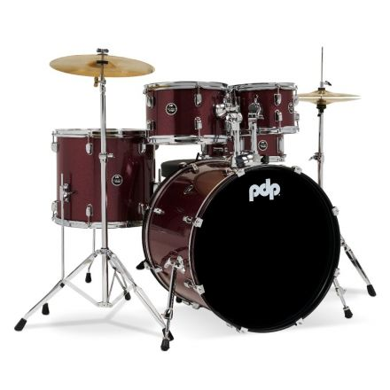 PDP Centerstage 5pc Rock Drum Set w/Cymbals - Ruby Red Sparkle