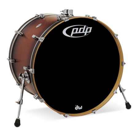 PDP Concept Series Maple Bass Drum, 18x24, Satin Tobacco Burst w/Chrome Hw