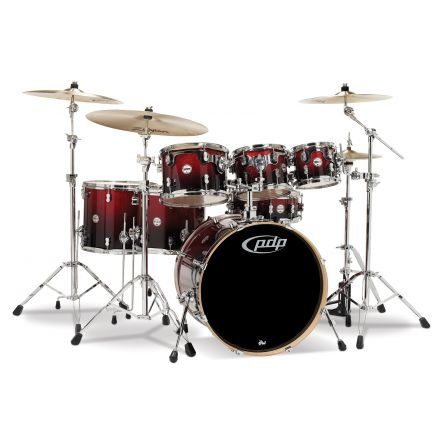 PDP Concept Maple : Red To Black Fade - Chrome Hardware 7 Pcs