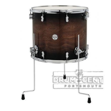 PDP Concept Exotic Component Drums : Walnut - Charcoal Burst, Chrome Hardware 16x18 Floor Tom