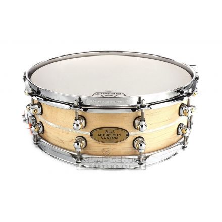 Pearl Music City Custom Solid Maple 14x5 Snare Drum - Natural With Marine Pearl Inlay