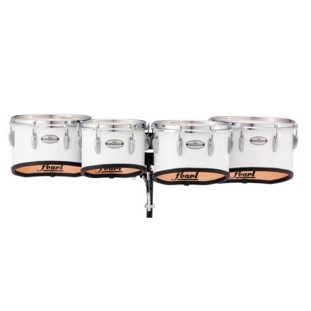 Pearl Marching Percussion: 10+12+13+14 Championship Maple Marching Tom Set, Shallow Cut W/R Ring #33 - Pure White