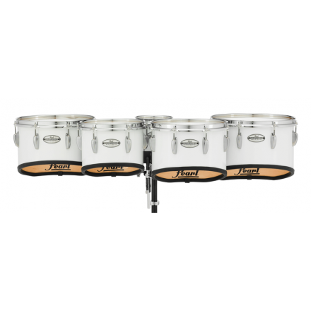 Pearl Marching Percussion: 6+10+12+13+14 Championship Maple Marching Tom Set, Shallow Cut W/R Ring #33 - Pure White