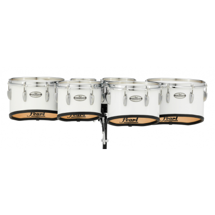 Pearl Marching Percussion: 6+8+10+12+13+14 Championship Maple Marching Tom Set, Shallow Cut W/R Ring #33 - Pure White
