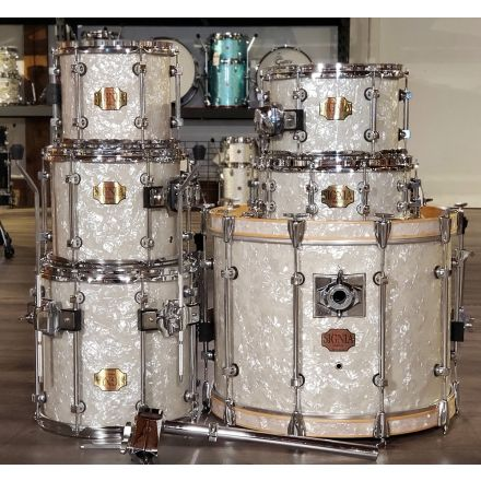 Used Premier Signia 6pc Drum Set White Marine Pearl