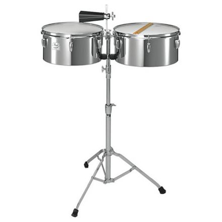 Pearl Primero 13/14 Steel Timbales W/ Stand, Stick