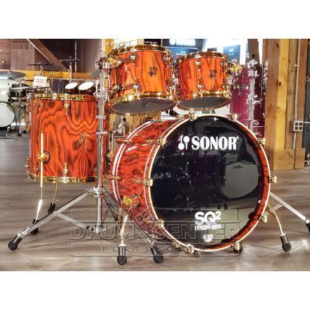 Sonor SQ2 4pc Drum Set Medium Maple - Fiery Red Veneer High Gloss
