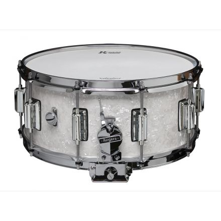 Rogers Dyna-sonic 14x6.5 Wood Shell Snare Drum White Marine Pearl w/Beavertail Lugs