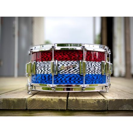 """Rogers Dyna-sonic Wood Shell Snare Drum 14x6.5 Red, White, and Blue """"Patrionyx"""""""