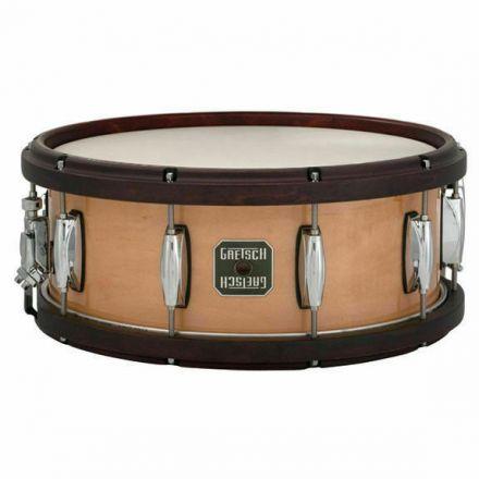Gretsch Maple Snare w/Wood-Metal Hoops - 5.5x14 - Satin Walnut Hoops