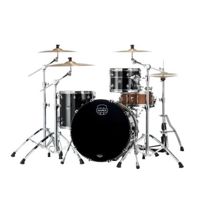 Mapex Saturn Evolution Hybrid Powerhouse Rock 3 Pc Drum Set Without Snare - 24/13/16 - Piano Black
