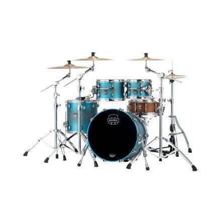 Mapex Saturn Evolution Fusion 4 Pc Maple Drum Set Without Snare - 20/10/12/14 - Exotic Azure Burst