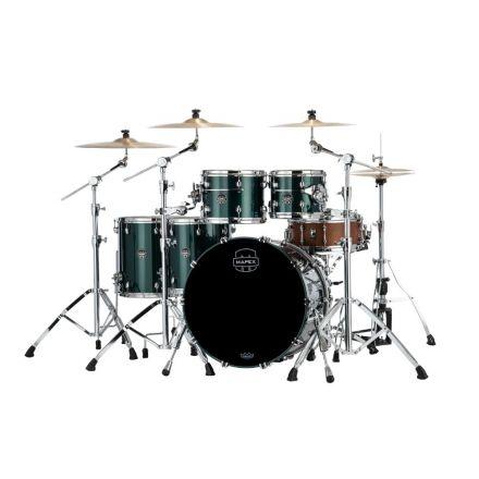 Mapex Saturn Evolution Workhorse 5 Pc Birch Drum Set Without Snare - 22/10/12/14/16 - Brunswick Green