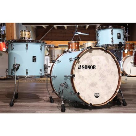 Sonor SQ1 3pc Drum Set 20/12/14 Cruiser Blue w/ Walnut Hoops