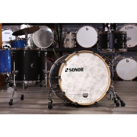 Sonor SQ1 3pc Drum Set 22/12/16 Black w/ Natural Hoops