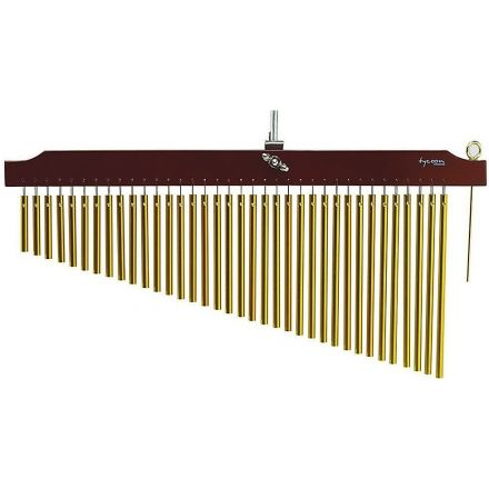 Tycoon Percussion 36 Gold Chimes With Brown Finish Wood Bar
