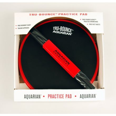 Aquarian Tru Bounce Practice Pad w/ Power Sleeve 5A Sticks