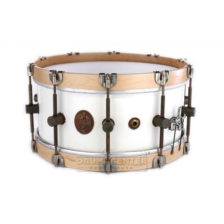Used A&F Maple Club Snare Drum 14x6.5 White (w/ Wood Hoops)