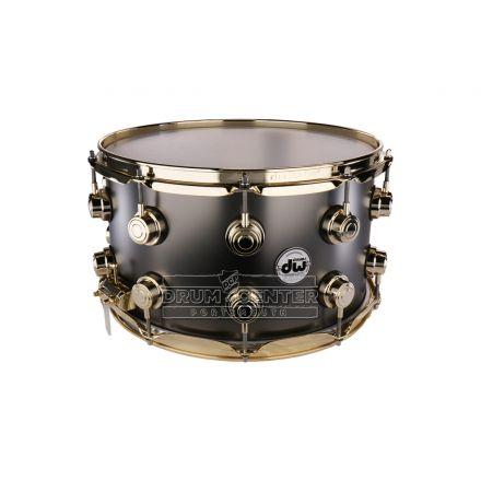 DW Collectors Series Satin Black Brass Snare Drum - 14x8 - Gold Hardware