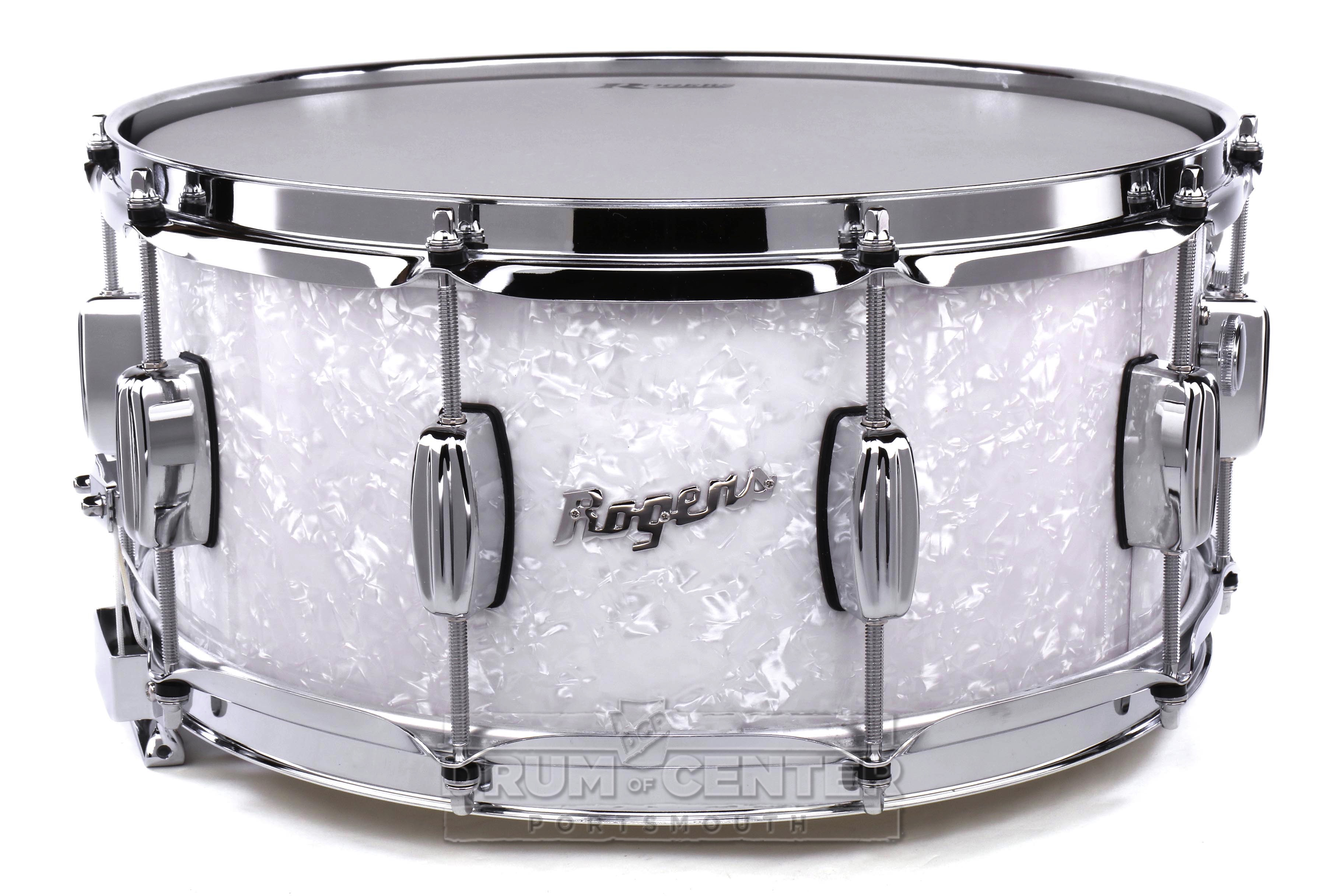 rogers dyna sonic wood shell snare drum 14x6 5 white marine pearl 471898102662 ebay. Black Bedroom Furniture Sets. Home Design Ideas