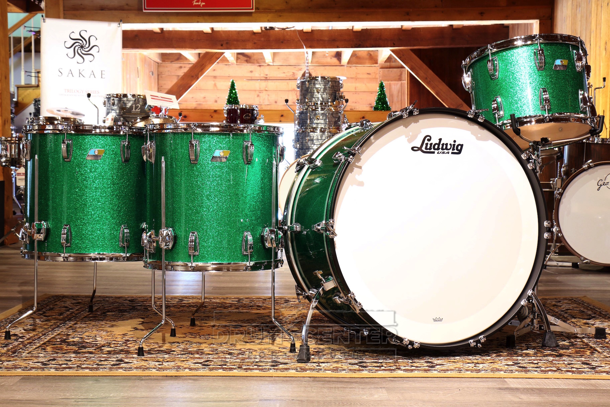 ludwig classic maple 4pc bonham drum set green sparkle video demo ebay. Black Bedroom Furniture Sets. Home Design Ideas
