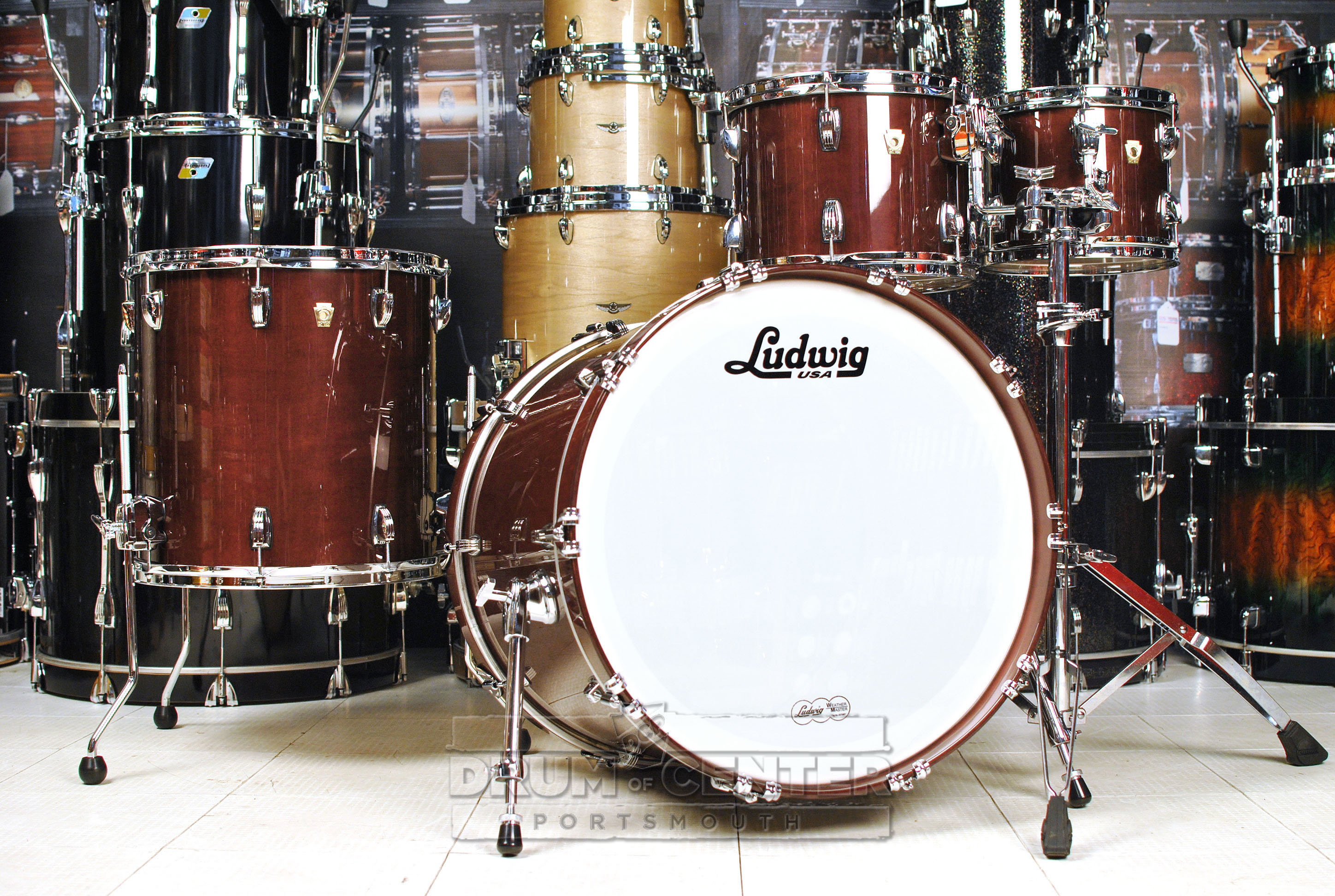 ludwig demo drums classic maple 4pc mod22 drum set mahogany stain ebay. Black Bedroom Furniture Sets. Home Design Ideas