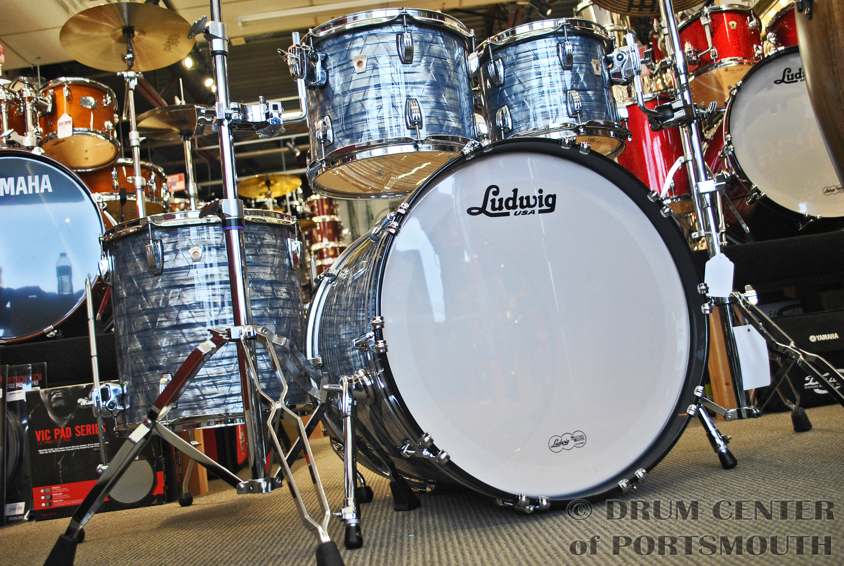 Ludwig Classic Maple Mod22 4pc Drum Set Sky Blue Pearl