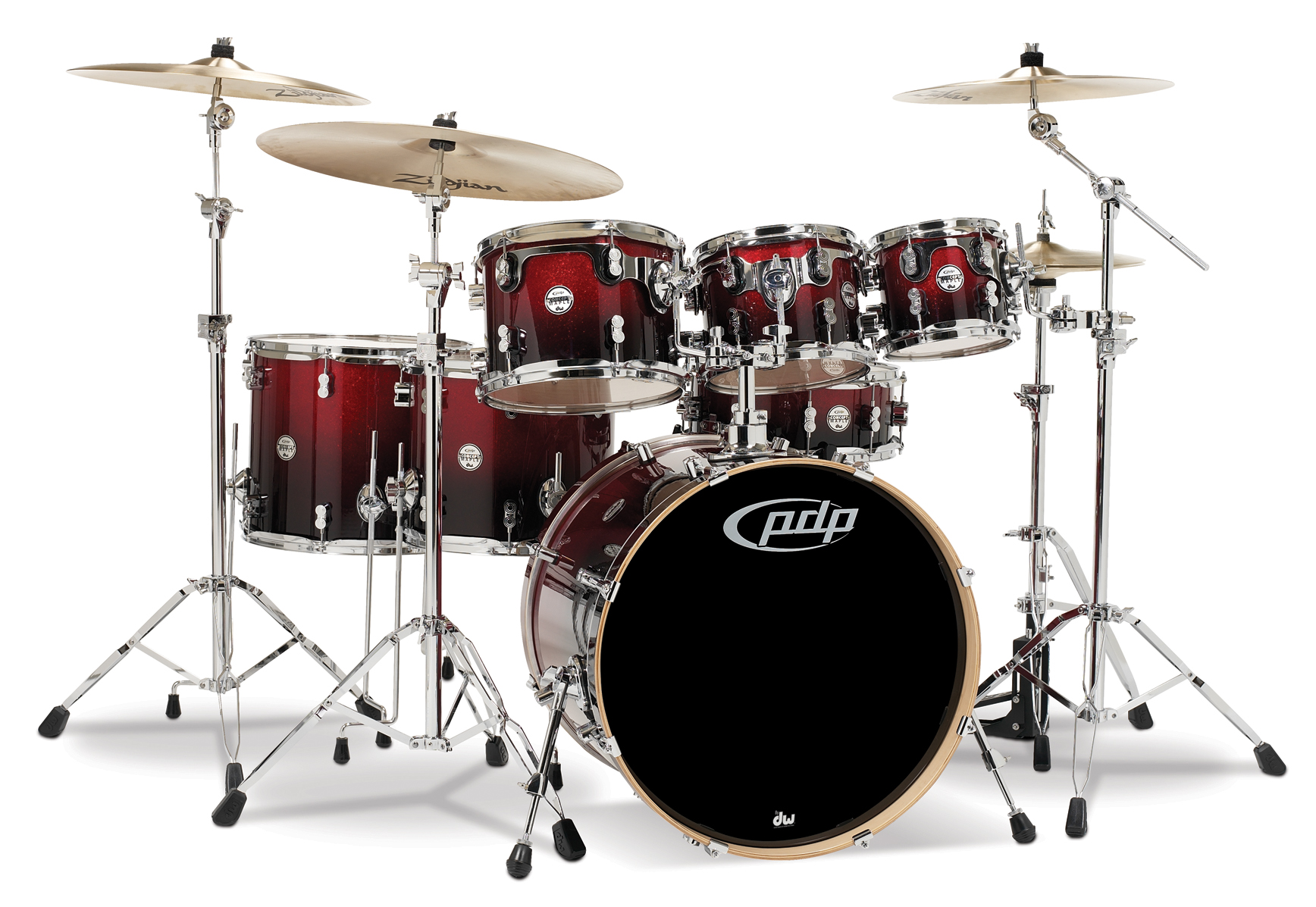Pdp Concept Maple Red To Black Fade Chrome Hardware 7 Pcs