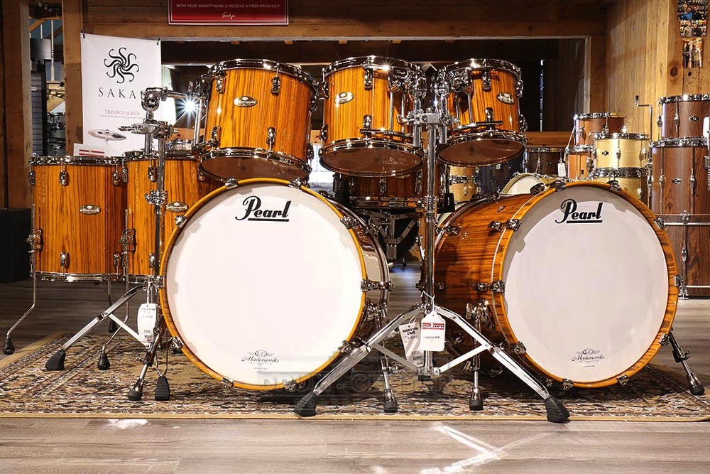 Pearl Masterworks 8pc Stadium Drum Set Tiger Yellow Over